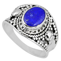 925 silver 3.10cts natural blue lapis lazuli oval solitaire ring size 8 r58253
