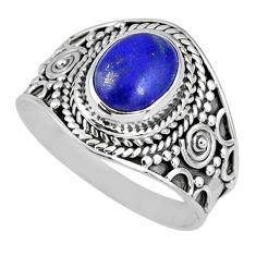 925 silver 2.90cts natural blue lapis lazuli oval solitaire ring size 8 r58257