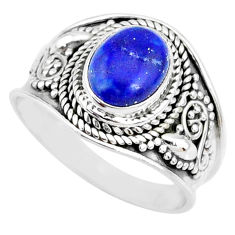 925 silver 3.02cts natural blue lapis lazuli oval solitaire ring size 8 r74687