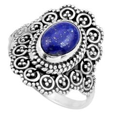 925 silver 3.25cts natural blue lapis lazuli oval solitaire ring size 9 r26928