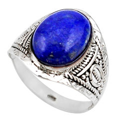 925 silver 5.84cts natural blue lapis lazuli oval solitaire ring size 9 r35373