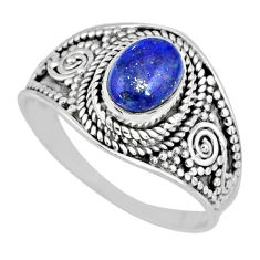 925 silver 2.09cts natural blue lapis lazuli oval solitaire ring size 9 r57980