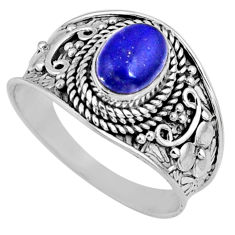 925 silver 2.08cts natural blue lapis lazuli oval solitaire ring size 9 r58607