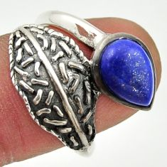 925 silver 2.51cts natural blue lapis lazuli pear solitaire ring size 8 r37098