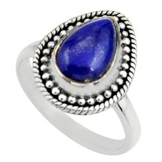 925 silver 4.21cts natural blue lapis lazuli pear solitaire ring size 9 r26608