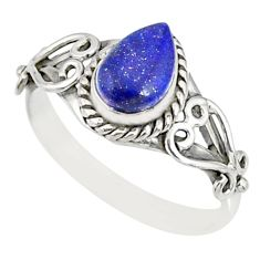 925 silver 2.17cts natural blue lapis lazuli pear solitaire ring size 9 r82514