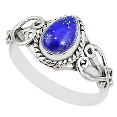 925 silver 2.17cts natural blue lapis lazuli pear solitaire ring size 9 r82517
