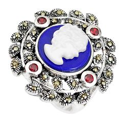 925 silver 5.52cts natural blue lapis lazuli pearl lady face ring size 6 c21415