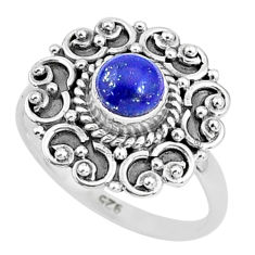 925 silver 0.76cts natural blue lapis lazuli round solitaire ring size 6 t4032
