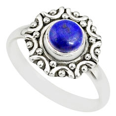 925 silver 1.11cts natural blue lapis lazuli round solitaire ring size 8 r82116