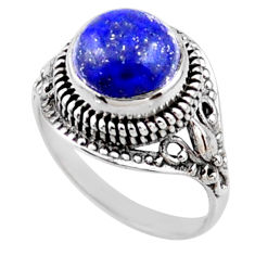 925 silver 5.93cts natural blue lapis lazuli round solitaire ring size 9 r54596