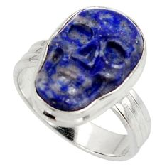 925 silver 11.46cts natural blue lapis lazuli skull solitaire ring size 8 d47440