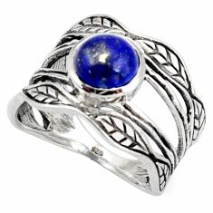 925 silver 3.02cts natural blue lapis lazuli solitaire leaf ring size 9 r36980