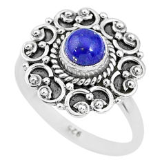 925 silver 0.82cts natural blue lapis lazuli solitaire ring jewelry size 7 t4029