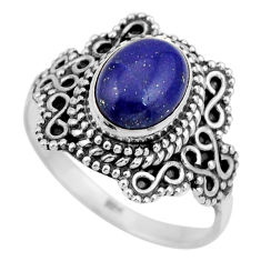 925 silver 3.01cts natural blue lapis lazuli solitaire ring size 8.5 r26985