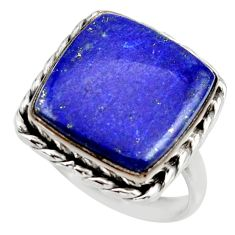 925 silver 11.54cts natural blue lapis lazuli solitaire ring size 8.5 r28751