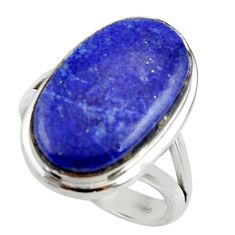 925 silver 13.28cts natural blue lapis lazuli solitaire ring size 7.5 r28757