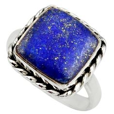 925 silver 12.03cts natural blue lapis lazuli solitaire ring size 9.5 r28760