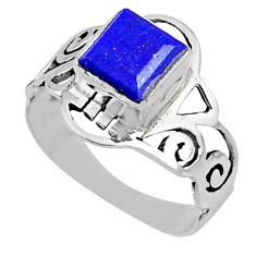 925 silver 2.81cts natural blue lapis lazuli solitaire ring size 8.5 r54433