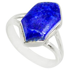 925 silver 5.84cts natural blue lapis lazuli solitaire ring size 6.5 r80155