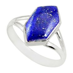 925 silver 5.57cts natural blue lapis lazuli solitaire ring size 9.5 r80230