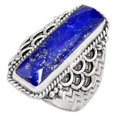 925 silver 6.54cts natural blue lapis lazuli solitaire ring size 7 r21379