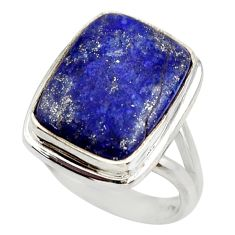 925 silver 10.30cts natural blue lapis lazuli solitaire ring size 7 r28746