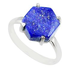 925 silver 4.91cts natural blue lapis lazuli solitaire ring size 7 r81937