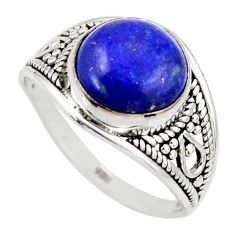 925 silver 5.22cts natural blue lapis lazuli solitaire ring size 8 r35433