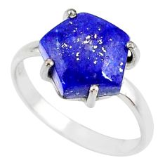 925 silver 5.51cts natural blue lapis lazuli solitaire ring size 8 r81876