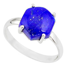 925 silver 4.86cts natural blue lapis lazuli solitaire ring size 8 r81879