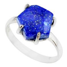 925 silver 4.86cts natural blue lapis lazuli solitaire ring size 8 r81893