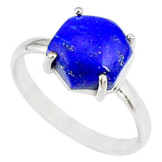 925 silver 5.13cts natural blue lapis lazuli solitaire ring size 9 r81873
