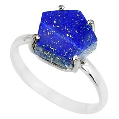 925 silver 5.54cts natural blue lapis lazuli solitaire ring size 9 r82059