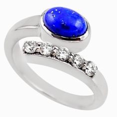 925 silver 3.91cts natural blue lapis lazuli topaz adjustable ring size 7 r54548