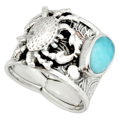 925 silver 3.33cts natural blue larimar crab solitaire ring size 6.5 r22400