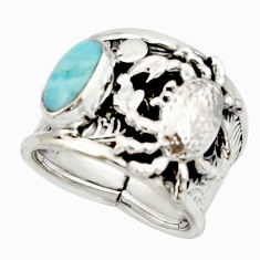 925 silver 2.99cts natural blue larimar crab solitaire ring size 6.5 r22406