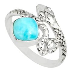 925 silver 2.28cts natural blue larimar cushion shape snake ring size 8 r82553