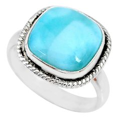 925 silver 6.84cts natural blue larimar cushion solitaire ring size 8 r74567