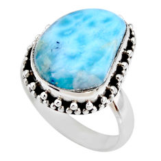 925 silver 7.12cts natural blue larimar fancy solitaire ring size 7 r53805