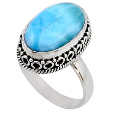 925 silver 8.22cts natural blue larimar oval solitaire ring size 8.5 r53770