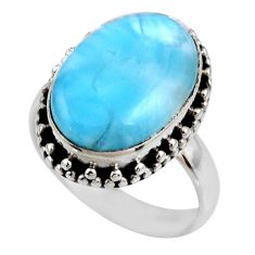 925 silver 9.54cts natural blue larimar oval solitaire ring size 7 r53792