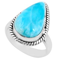 925 silver 7.22cts natural blue larimar pear shape solitaire ring size 6 r72615