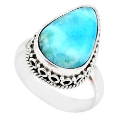 925 silver 7.62cts natural blue larimar pear shape solitaire ring size 7 r83780