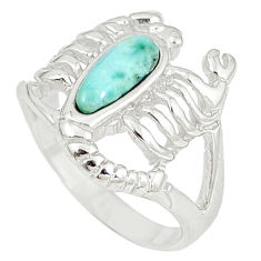 925 silver natural blue larimar scorpion charm ring size 6.5 a60706 c15194