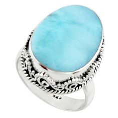 925 silver 12.39cts natural blue larimar solitaire ring jewelry size 7.5 r22344