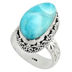 925 silver 9.64cts natural blue larimar solitaire ring jewelry size 8.5 r22359