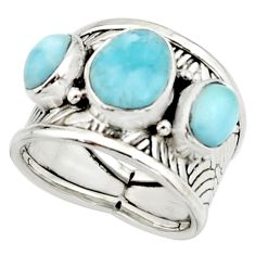 925 silver 7.21cts natural blue larimar solitaire ring jewelry size 6.5 r22386