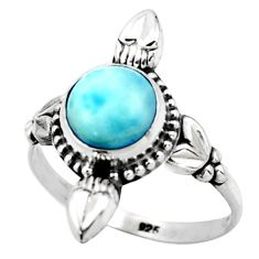 925 silver 2.92cts natural blue larimar solitaire ring jewelry size 8.5 r41424
