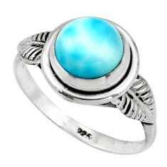 925 silver 3.06cts natural blue larimar solitaire ring jewelry size 7.5 r41505